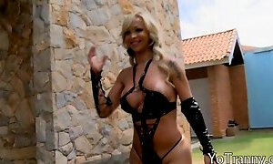 Busty mature shemale Carlea ass fucked and jizzed on