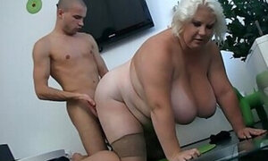 Fat bitch in stockings gets fucked on all fours