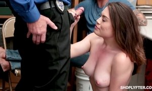 Blackmailed young girl gets fucked by security in front of her BF AnalDin