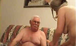 Hilarious-looking grandpa fucks a younger gal