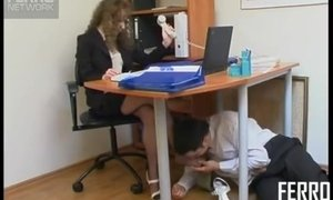 Russian Foot Fetish Scene in group With Mature Woman In The Office