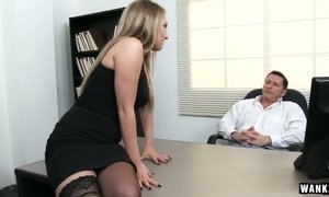Spoiled office bitch Harley Jade gives blowjob to her boss and gets slit rammed
