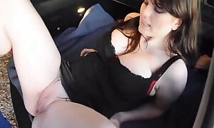 Horny Brunette with Big Tits Gets Drilled on the Car