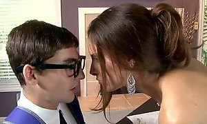 Busty raven haired sweetie blows smelly cock of her young teacher greedily AnySex