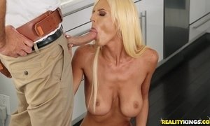 White haired mommy with big saggy tits seduces a plumber with big tool AnalDin