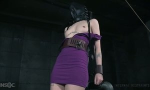 Belted and restrained bitch Charlotte Sartre gets her pussy punished AnySex