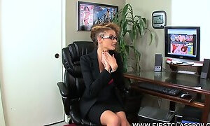 Voluptious secretary with huge boobs Joslyn James explores her office fantasies