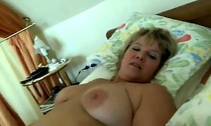 Mature blonde fattie enjoys sex in the missionary pose