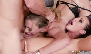 Anya Olsen is being licked by girlfriend and fucked by dude AnalDin