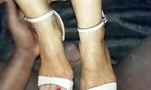 Interacial shoejob with platform heels