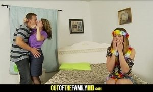 Mom, Daughter And Boyfrend Threesome