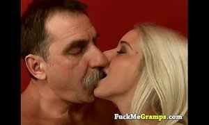 Stunning blonde fucked by dirty old man