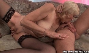 Grandma in stockings gets a facial xVideos