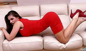 Stunning nicely packed Hungarian sexpot Cathy Heaven loves anal masturbation