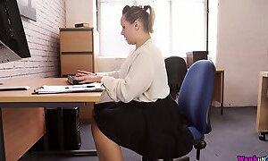 Stunning BBW Ashley Rider is masturbating her twat in the office