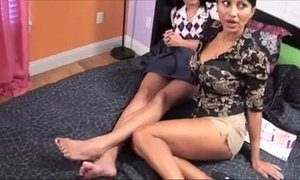 Brother gets a double footjob from Step-Family Lesbians xVideos