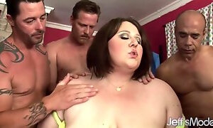 Fat horny BBW with big saggy tits in gangbang with five cumshots