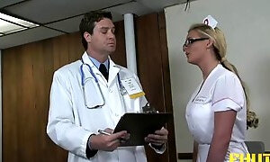 Gorgeous blonde nurse having a crazy anal session in the gym