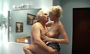 Busty blonde babe with big naturals fucking older ugly dude