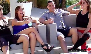 Alexis foreplays with other horny couples while getting ready to party