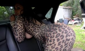 Natural titted latina sucking and fucking big cock in the car Beeg
