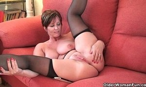 British mom April works her pussy in tights xVideos
