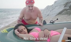 Two kinky dudes fuck super juicy Spanish milf Katrina Moreno chick on the beach AnySex