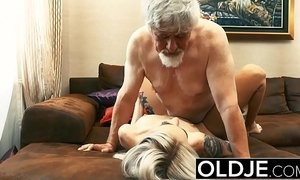 Old and Young Teen Blonde Fucked by Old man tight pussy cock licking xVideos