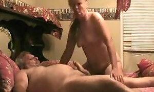 Grandma blows grandpa huge cock