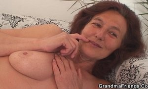 Skinny granny swallows two cocks xVideos