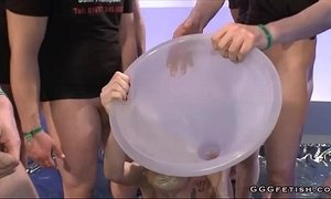 Girl gets pee through a large funnel xVideos