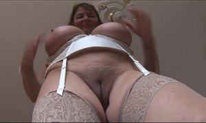 Busty mature brunette with huge boobs and hairy pussy strips xVideos